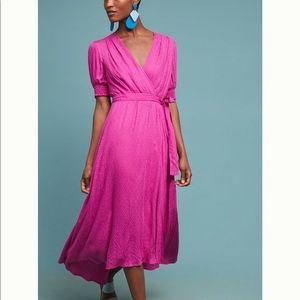 NWT Anthropologie  Breanna Wrap Raspberry  Dress